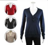 Wholesale Womens Ex Chainstore  Y Neck Horn Button Jumper
